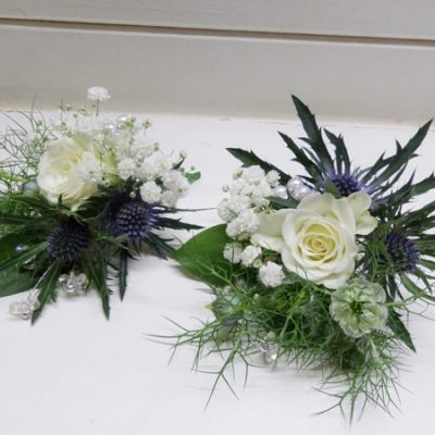 Blue Flower Arrangement Buttonholes