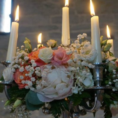 Peaches & Cream Wedding Flower Arrangement