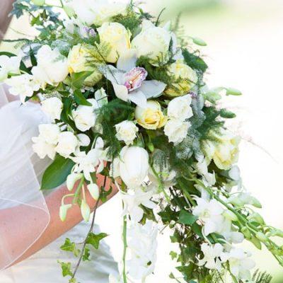 A spring flower bridal bouquet