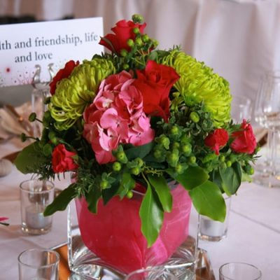 Popping Pinks Wedding Flower Arrangement